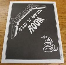 OTTO Backstage Concert Door Sign Metallica FOOD BOOZE ROOM Wherever We May Roam