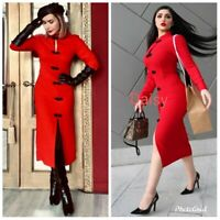 ZARA NEW 2021 INFLUENCER RED TOGGLE DRESS SIZE M
