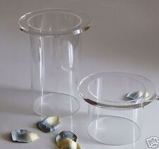 2 CRYSTAL CLEAR ACRYLIC TUBE PEDESTAL STAND RISERS