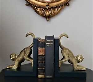 Beautiful Quirky Golden Monkeys Bookends Desk TidyGreat Quality