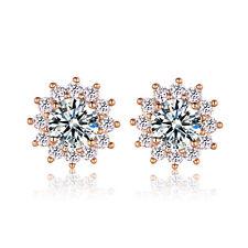 Lady Elegant White Crystal Ear Stud Earrings Topaz CZ Rhinestone Weddings Party