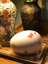 Fitz & Floyd 1976 Large Japanese Hand Painted Porcelain Egg Dish / Butterfly