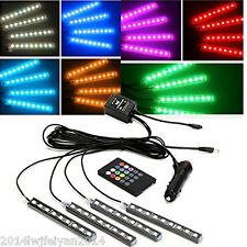 4in1 7 Colors Choose Car Interior Atmosphere Music Control Light+Wireless Remote