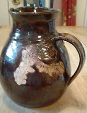 Vintage Handcrafted Handpainted Incised Pottery Pitcher-Signed By Artist