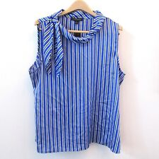 Banana Republic Womens Shirt Blouse Blue White Striped Tie Scarf Neckline Sz XL