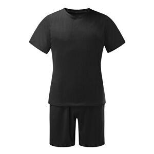 Mens Casual Cotton Outfit 2-Piece Set Short Sleeve T Shirts Shorts Sweatsuit Set