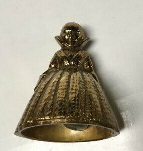 """Small 3"""" Brass Bell Victorian Lady Woman Carrying Basket"""