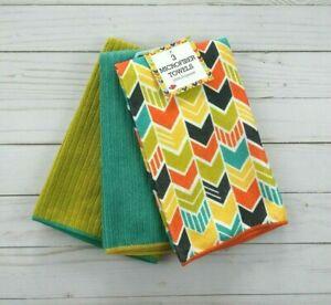 Kitchen Towels Chevron Stripe Microfiber Set of 3 Yellow Olive Teal
