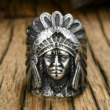 Stainless Steel Fashion Jewelry Gift Bikers Indian Chief Titanium Steel Men Ring