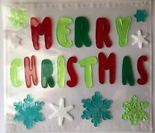 NEW MERRY CHRISTMAS Winter window sticker Gel Clings 22 pcs Decoration Snowflake