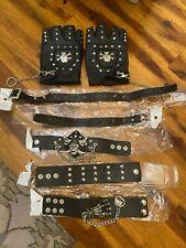 Biker Fingerless Gloves - Skull/Crossbones PLUS neck and wrist cuffs
