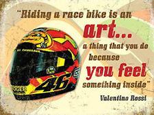 Valentino Rossi Helmet, Motorbike Racing Quote, Race Bike Medium Metal/Tin Sign