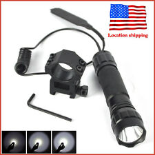 8000LM Tactical White Light LED Hunting Flashlight W/Picatinny Rail Scope Mount