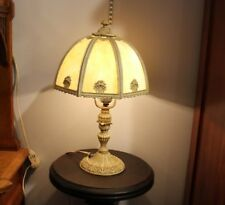 Antique Eight Panel Slag Glass Table Lamp
