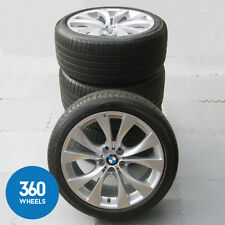 "GENUINE BMW 20"" X5 227 M SPORT V SPOKE ALLOY WHEEL SET TYRES BRIDGESTONE RUNFLAT"