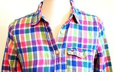 HOLLISTER RN 102573 2-Tier Plaid/Checkered Shirt with Burgundy Eagle Junior: MED