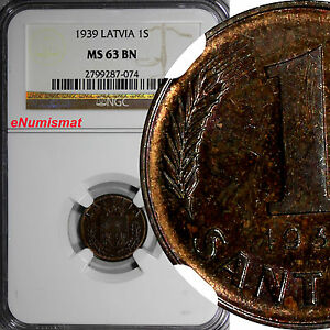 Latvia Bronze 1939 1 Santims NGC MS63 BN Nice Coin KM# 10