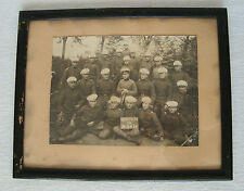 WWII Vtg Real Photography Soldiers & Officers - Military Uniforms - wooden frame
