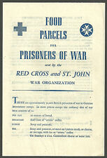 FOOD PARCELS FOR PRISONERS OF WAR SENT BY RED CROSS AND ST JOHN FOLD OUT LEAFLET