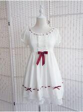 Japan Style Sweet Girls Red Bowknot Lace Short Sleeve Lolita Dress Black & White