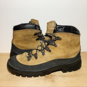 Danner Combat Hiker Brown Tan Leather Black Rubber Boots Mens Size 10W