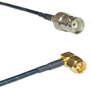 RG174 BNC FEMALE to SMA MALE ANGLE Coax RF Cable USA-Ship Lot