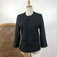 Target Collection Long Sleeve Open Blazer Blue Black Size 10 Career Corporate
