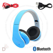 Foldable Wireless Bluetooth 4.2 Stereo Headphones Handsfree Blue with Cable UKDC