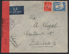 ISRAEL - 1949 airmail censored to Switzerland.