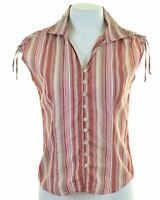 UNITED COLORS OF BENETTON Womens Shirt Size 10 Small Multi Striped Cotton  HR17