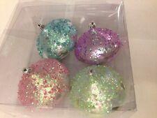 4 Christmas Holiday Shatterproof Ornaments Pastel Pink Purple Blue Green