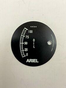 VINTAGE ARIEL LUCAS OIL GAUGE DIAL FACE PLATE #15A