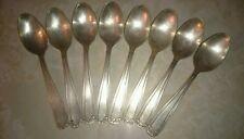 8 petites cuillères à café en métal argenté  :  14,2 cm poinçon fleur de lys ED