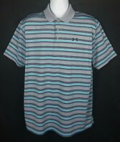 Under Armour Loose Heat Gear Polo Shirt Mens XL Gray Striped Polyester Elastane