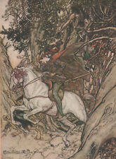 Knight Horse Panic Goblin Undine Arthur Rackham 1911 Antique Tipped-In Print