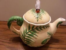 CBK Ltd 1999 TEA POT Green/Yellow with dragon fly on top. Tropical Scene. NICE!