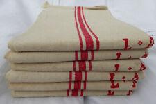 More details for 6 vintage french linen tea towels / torchons - red stripes - monogramme l a