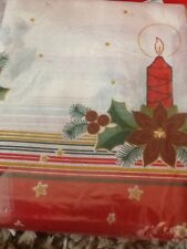 Christmas Printed Tablecloth 145 X 190 Poinsettias & Candles