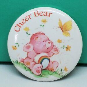 "Care Bears Cheer Bear 1.5"" Metal Pin Back Button 2001 Vintage Retro Art Rainbow"