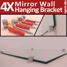 4 Mirror Wall Hanging Fixing Kit Chrome Plastic Clips Mirror Wall Mounting NEW