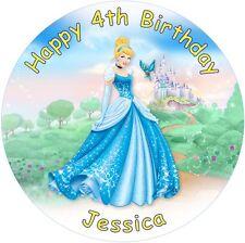 "Cinderella  personalised icing sheet cake topper 7.5"" Round"