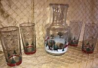 Vintage Christmas Snow Scene Juice Decanter And Glasses Thick Glass