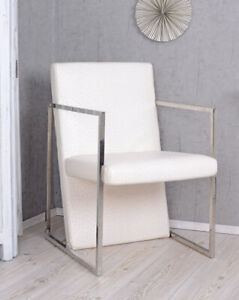 Armchair White Ostrich Leather Look Armchair Chair Art Deco Armchair