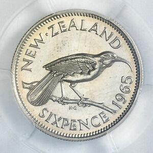 1965 NEW ZEALAND 6 PENCE PCGS MS65 CHOICE BLAST WHITE GEM UNC BU HIGH GRADE