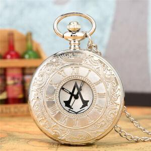 Steampunk Assassin's Creed Design Men Women Quartz Pocket Watch Necklace Pendant