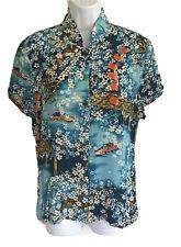 NWT IOLANI Women Asian Short Sleeve Mandarin Collar Button Blouse Shirt Medium M