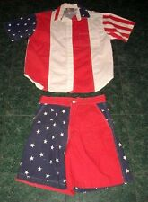 Patriotic Stars & Stripes Shirt Shorts Outfit Clothes Ladies M