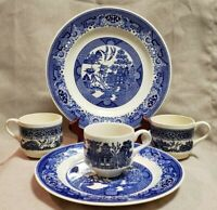Royal Blue Willow China Mixed Lot Of Plates & Cups USA & England