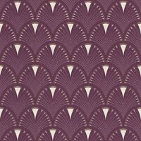 MODERN ART ART DECO FAN WALLPAPER PLUM / GOLD RASCH 433241 - FEATURE WALL NEW
