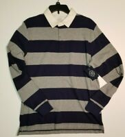 St Johns Bay Men's Grey Navy Striped Long Sleeve Legacy Polo Golf Medium NWT